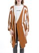 Camel Stripes Knitted Casual Cardigan
