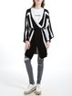 Black Casual Wool Blend Stripes Knitted Cardigan