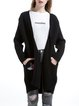 Black Wool Blend Embroidered Casual Cardigan