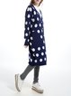 Navy Blue Buttoned Polka Dots Long Sleeve Cardigan