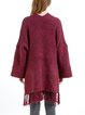 Wine Red Wool Blend Casual Plain Fringed Cape