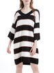 Black Stripes Wool Blend Simple Sweater Dress