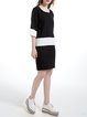 Black Two Piece Color-block Blend Sweater Dress
