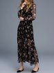 Black Two Piece Elegant Floral-print Swing Midi Dress