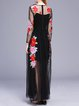 Black Mesh Embroidered Two Piece Long Sleeve Maxi Dress