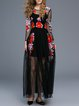 Black Two Piece Floral Embroidered Mesh Evening Dress