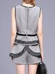 Gray Two Piece Sweet Ruffled Sleeveless Romper