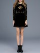 Black Tribal Long Sleeve Embroidered Elegant Mini Dress