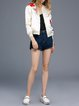 White Floral Embroidered Stand Collar Bomber Jacket