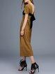 Yellow Short Sleeve Pockets Wool Blend Jumpsuit