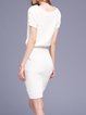 White Simple Bateau/boat Neck Two Piece Sweater Dress