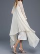 White Asymmetrical Long Sleeve Angora-blend Cape