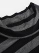 Gray Rayon Stripes Turtleneck 3/4 Sleeve Midi Dress