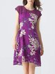 Purple High Low Elegant Floral-print Midi Dress