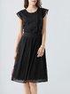 Black Elegant Paneled Crew Neck Midi Dress
