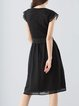 Black Elegant Paneled Crew Neck Midi Dress