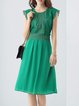 Green Short Sleeve A-line Floral Midi Dress