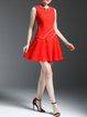 Red A-line Crew Neck Sleeveless Midi Dress