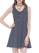 Cotton-blend Simple Stripes Sleeveless Mini Dress