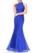 Blue Mermaid Sleeveless Evening Dress