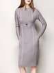 Gray Knitted Sheath Elegant Pockets Sweater Dress