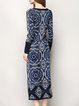 Blue Long Sleeve Jacquard Sweater Dress