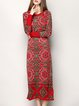 Red Long Sleeve Tribal Sheath Elegant Sweater Dress