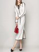 White Slit Knitted Keyhole Simple Midi Dress
