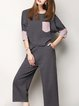 Deep Gray Simple 3/4 Sleeve Knitted Two Piece Jumpsuit