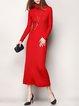 Red Plain Long Sleeve Turtleneck Pockets Sweater Dress