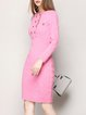 Buttoned Sheath Simple Long Sleeve Sweater Dress