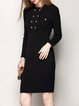 Black Buttoned Simple Sheath Sweater Dress