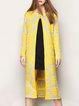 Yellow Vintage Slit Floral Jacquard Cardigan