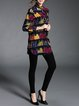 Black Long Sleeve Stand Collar H-line Abstract Cotton Tunic