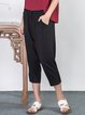 Black Plain Casual Pockets Cotton-blend Cropped Pants