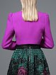 Purple Buttoned Square Neck Elegant Cropped Jacket