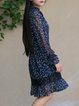 Navy Blue Floral Balloon Sleeve Mini Dress