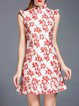 Sleeveless Vintage Flounce Printed Mini Dress