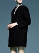 Black Long Sleeve Symmetric Wool Blend Coat