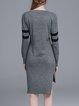 Light Gray Slit Long Sleeve High Low Sweater Dress