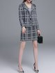 Black Fringed Two Piece Long Sleeve Checkered/Plaid Suits