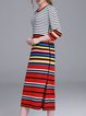 Red 3/4 Sleeve Stripes Slit H-line Sweater Dress