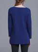 Dark Blue Wool Blend Crew Neck Plain Long Sleeved Top