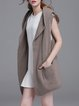Coffee Simple Sleeveless Hoodie Wool Blend Cardigan