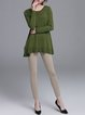Army Green Plain Slit A-line Buttoned Long Sleeve Sweater