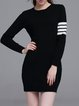 Black Color-block Knitted Crew Neck Sweater Dress