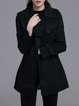 Dark Blue Elegant A-line Buttoned Pockets Trench Coat with Belt