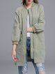 Light Green Long Sleeve Drawcord Pockets H-line Coat