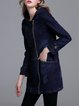 Dark Blue Denim Long Sleeve Zipper Hoodie Coat