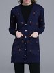 Navy Blue Pockets Sweet V Neck Cardigan
